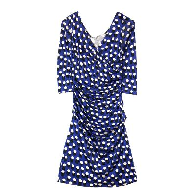 shirring dot dress blue